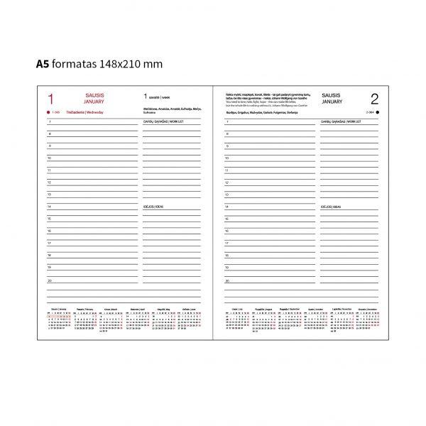 Darbo knygos tekstiliniu viršeliu lapeliai (A5 formatas)
