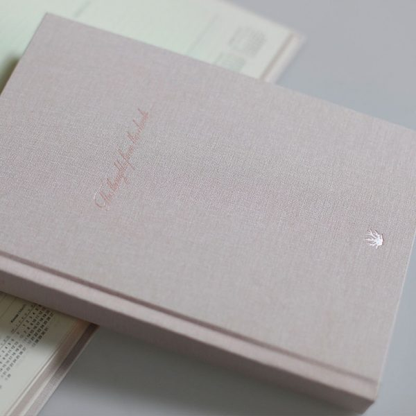 Darbo knyga tekstiliniu viršeliu RAUSVASIS KORALAS A5 formatas