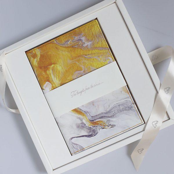 Darbo knyga kietu odiniu viršeliu PIETŲ VANDENYNAS (A5, dėžutėje)